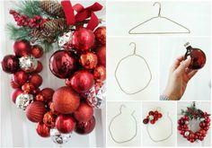 Basteln mit Weihnachtskugeln ideen-türkranz-drahtbügel-selber-machen-anleitung