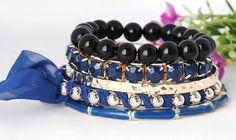 Stylish Rose Layered Elastic Design Handmade Royalblue Bracelet