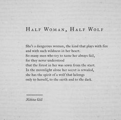 Half woman, half wolf by Nikita Gill