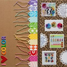 """I {Heart} Color"" scrapbook layout by Stacy Cohen, as seen on Club CK, a free scrapbooking community from Creating Keepsakes magazine. #scrapbook #scrapbooking  punched tags from colorful patterned paper and then used them to create a border for my photo section."