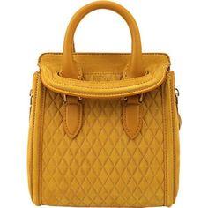 ALEXANDER MCQUEEN Suede Mini Heroine Bag ($1,785) ❤ liked on Polyvore featuring bags, handbags, shoulder bags, gold, top handle handbags, man bag, brown suede purse, mini purse and mini handbags #alexandermcqueenbag