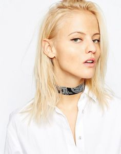 Image 3 of ASOS Paisley Fabric Choker Necklace