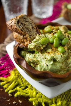 Edamame Hummus from OhSheGlows (my favorite place to get recipes from. basically everything  i eat comes from this blog!!)