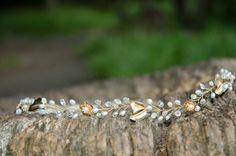 Gold crown, pearl headband, gold headband, golden wedding, wedding bands, pearl tiara, gold tiara, golden crown, golden head