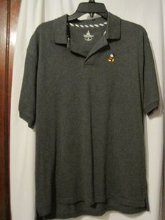 Disney Parks Mens Size M Gray Polo Golf Shirt With Mickey Mouse Short Sleeve #Disney #PoloRugby