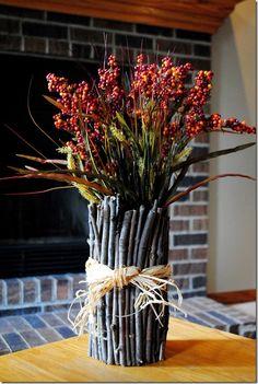 Twig Vase--Iowa Girl Eats.  http://iowagirleats.com/2011/10/15/no-cost-diy-decor/