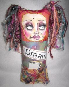 Fabric collaged art doll keepsake by CreativeCharacterS on Etsy, $45.00