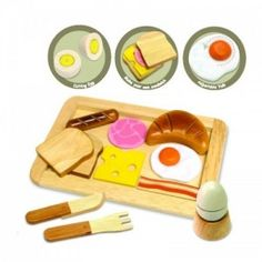 I'm Toy - Breakfast Set: Little chefs will enjoy serving breakfast in style with these beautiful wooden toys from I'm Toy! This delightful breakfast set will be a great complement to any kids' toy kitchen! Features a tray, knife & fork and an assortment of morning food favorites - sliced bread, croissant, cheese, ham, bacon, sausage, fried egg and boiled egg with egg cup. #alltotstreasures #i'mtoy #breakfastset #woodentoys #breakfast #baconandeggs #croissant #toast #breakfast