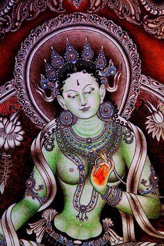 buddhabe: Green Tara ♥ Om Tare Tuttare Ture Svaha ♥ Om = essence of… Green Tara Mantra, Psy Art, Divine Mother, Sacred Feminine, Buddha Art, Tibetan Buddhism, Buddha Buddhism, Dalai Lama, Sacred Art