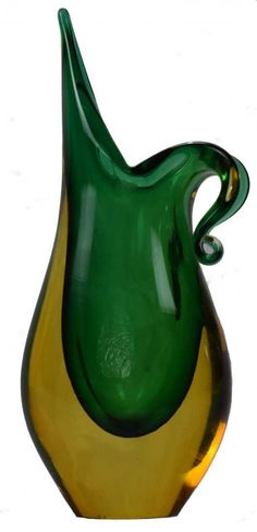 Teardrop sommerso vase Murano. Tripple sommerso, green, amber in a clear overlay.  Date: 1970s.
