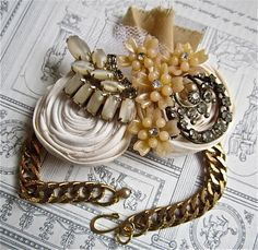 Bridesmaid Wrist Corsage Bracelet Vintage Wedding Fabric Flower Ivory Bridal Mother of the Bride Rhinestone Cuff Bracelet by AllThingsTinsel on Etsy https://www.etsy.com/listing/98820380/bridesmaid-wrist-corsage-bracelet