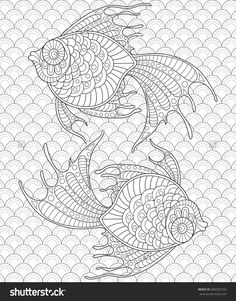 Golden Fish. Pisces. Adult Antistress Coloring Page. Black And White Hand Drawn Doodle For Coloring Book Stock Vector Illustration 384303103 : Shutterstock