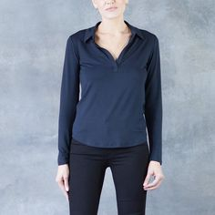 Majestic Viscose Elastane Long Sleeve Polo Top