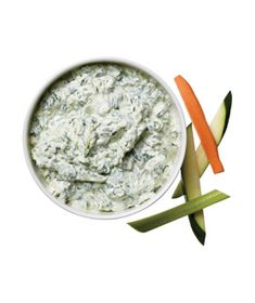 Spinach-Pesto Dip - In a small bowl, mix together 1 cup low-fat Greek yogurt, 1/2 10-ounce package frozen chopped spinach [thawed and squeezed dry], 1/4 cup pesto, 1/4 tsp. kosher salt, 1/4 tsp. black pepper. Serve with cut-up vegetables, if desired.