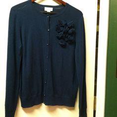 Ann Taylor Dark Teal Sweater Ann Taylor Dark Teal Sweater. Blue jewel buttons. Flower accent on front. Price firm unless bundledprice firm unless bundled Ann Taylor Sweaters