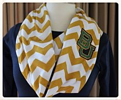 Baylor Bears green and gold chevron infinity scarf