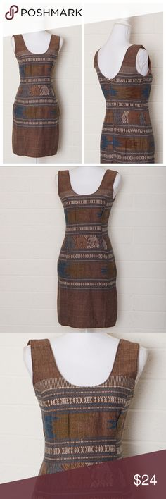 """southwestern linen dress DETAILS brown linen sheath dress with southwestern vibe. This dress is unlined & zips up the back.  No brand or material label.   CONDITION small spots on the fabric that are raised or inconsistent with the rest of fabric   MEASUREMENTS no size marked  bust 32"""" waist 28"""" length 35"""" Dresses"""