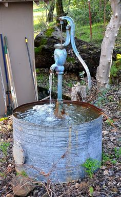 The Blue Pump   Rustic Water Fountain by BlackEyeGallery on Etsy, $599.00