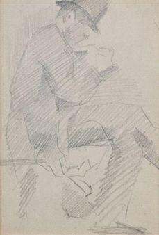 Homme assis de profil à droite, jambe croisée, vers By Georges Seurat ,1880