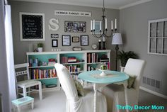 this would be awesome to do if you had a formal dining room, but didn't want to use it as a formal dining room. know what i mean? it's a family library. LOVE it!