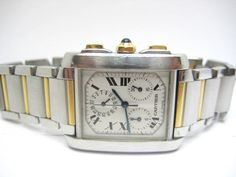 CARTIER TANK FRANCAISE Chronograph Steel & 18k Gold Men Used Watch