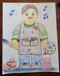 I'm excited about my next 4th grade art project to create a self-portrait.  I'm going Lego style and this is my example... An art teacher who loves coffee, always has her water bottle close by, and likes to listen to music while painting :-)