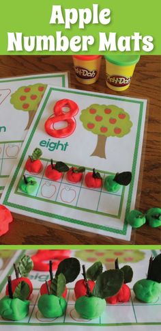 Play dough apples - Hands-on counting and early addition practice. A great back to school activity for August or September.  Apple counting for preschool, pre-k, kindergarten, early childhood education, and SPED.