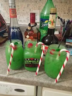 The grinch drink rum peach schnapps blue curacao sprite oj ice green