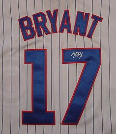 0932fcb10 KRIS BRYANT CHICAGO CUBS AUTOGRAPHED WHITE PINSTRIPE  17 JERSEY