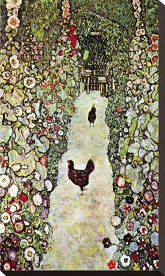 Garden Path with Chickens Premium Poster