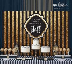 Black and Gold Backdrop Adults Party Banner by NoFussPrintable