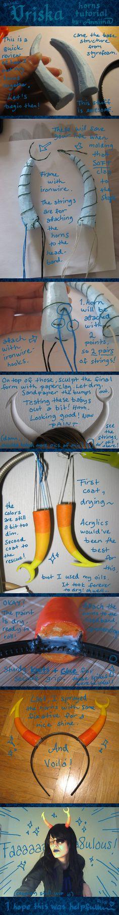 Vriska horns tutorial @Ashley Walters Johnson I figured you could use something like this!