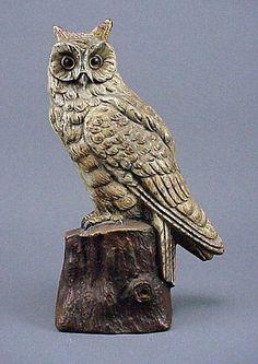 174: Old Rare Vintage Cast Iron Owl Doorstop Door Stop : Lot 174