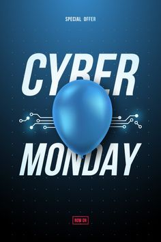 Cyber monday sale poster with blue shiny balloon and text. Download it at freepik.com! #Freepik #vector #banner #sale #marketing #discount Cyber Monday Sales, Sale Poster, Balloons, Banner, Marketing, Places, Blue, Banner Stands, Globes