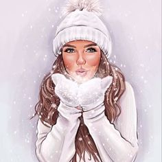 Beautiful Girl Drawing, Cute Girl Drawing, Cartoon Girl Drawing, Girl Cartoon, Cartoon Art, Winter Illustration, Woman Illustration, Image Girly, Best Friend Drawings