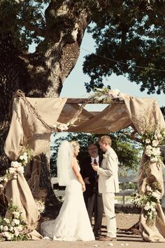 Can you say rustic elegance?  Burlap covered chuppah.