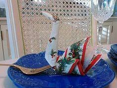 diy napkin folding day of Christmas my elf on shelf gave to me a napkin folded like a swan Napkin folding ideas # The Night Before Christmas, Christmas Time, Christmas Ideas, Christmas Crafts, Wedding Napkin Folding, Toilet Paper Origami, Diy Craft Projects, Diy Crafts, Craft Ideas