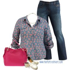 """Floral Button Shirt"" by fluffof5 on Polyvore"
