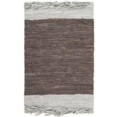 Safavieh Handmade Vintage Boho Leather Shukrie Modern Stripe Leather Rug (Light Grey/Dark Brown x Gray Dark Brown Color, Brown And Grey, Gray, Washable Rugs, Accent Rugs, Throw Rugs, Vintage Leather, Rug Size, Size 2