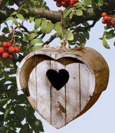 heart-shaped birdhouse with heart-shaped entry
