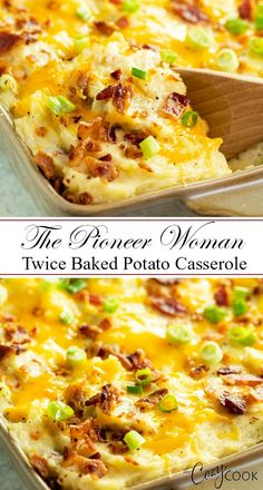 This easy Twice Baked Potato Casserole from The Pioneer Woman is a perfect side dish, easy to make ahead, and freezer friendly! #potatoes #casserole #comfortfood #sidedish #thepioneerwoman #makeahead #freezerfriendly #twicebaked #bacon #cheese