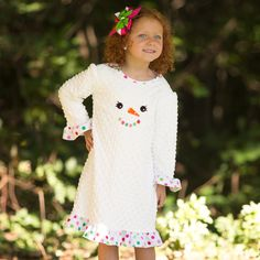 Lolly Wolly Doodle White Minky Bright Dot Ruffle Dress 9/26