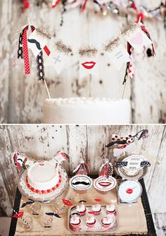 Una fiesta moderna y original para San Valentín! Con bigotes y labios! Via blog.fiestafacil.com / A modern and original St. Valentine party! With moustaches and lips!