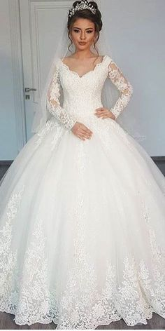 ball gown long sleeve lace wedding dresses 4