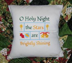 Pillow Cover, Christmas, Pillow Cover Cotton, Oh Holy Night, Typography