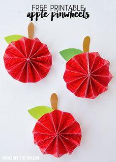 DIY Free Printable Apple Pinwheel Tutorial by MichaelsMakers Love The Day Pinwheel Tutorial, Hat Tutorial, Diy For Kids, Crafts For Kids, Apple Decorations, Back To School Crafts, Paper Crafts, Diy Crafts, 3d Paper