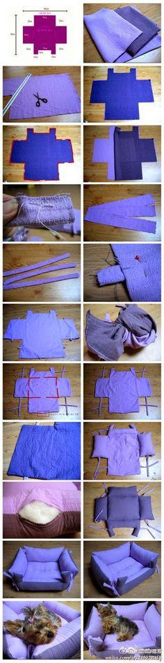 Ecco dei tutorial che spiegano come fare una cuccia per cane di piccola taglia e gatto di stoffa , da mettere in casa.   La cuccia di stof...