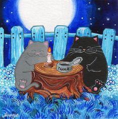 Cat at Night painting. Annya Djachiachvili