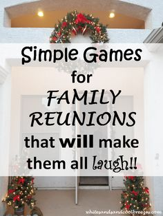 Simple Games For Family Reunions That Will Make Them All Laugh ~ White Sands and Cool Breezes Looking for some simple games for family reunions? Check out these simple games for family reunions that will make them all laugh! Xmas Games, Christmas Games For Family, Christmas Party Games, Family Holiday, Family Family, Thanksgiving Family Games, Easter Games, Cabin Christmas, Halloween Games