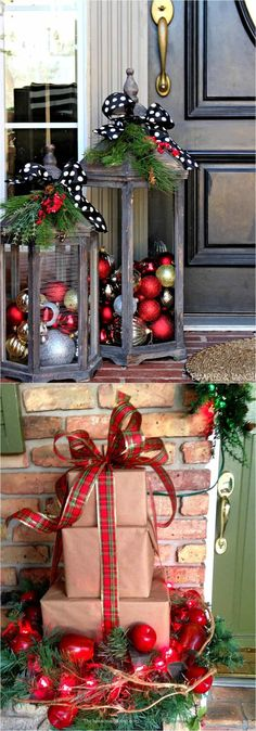 32 beautiful christmas porches front doors how to create gorgeous and playful diy outdoor christmas decorations such as garlands wreaths lights